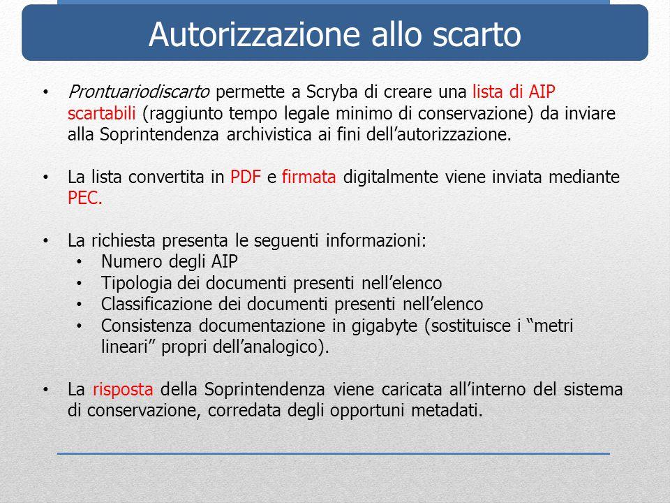 Autorizzazione allo scarto Prontuariodiscarto permette a Scryba di creare una lista di AIP scartabili (raggiunto tempo legale minimo di conservazione) da inviare alla Soprintendenza archivistica ai fini dell'autorizzazione.