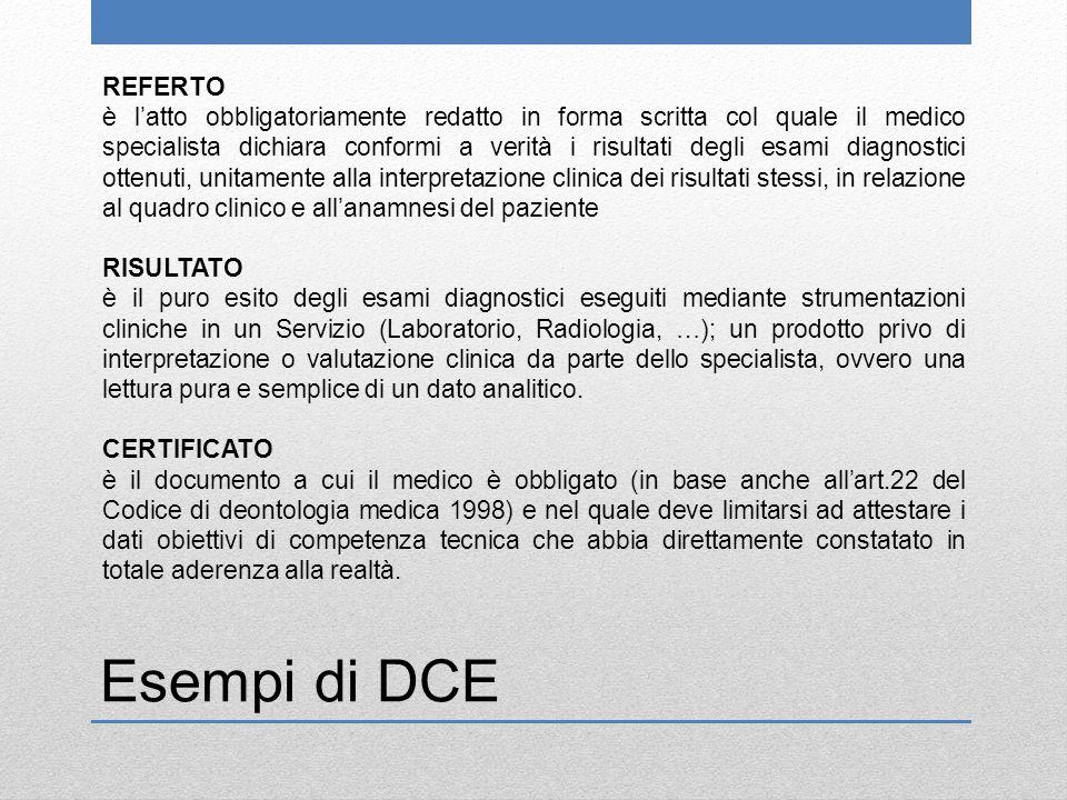 Esempi di DCE REFERTO è l'atto obbligatoriamente redatto in forma scritta col quale il medico specialista dichiara conformi a verità i risultati degli