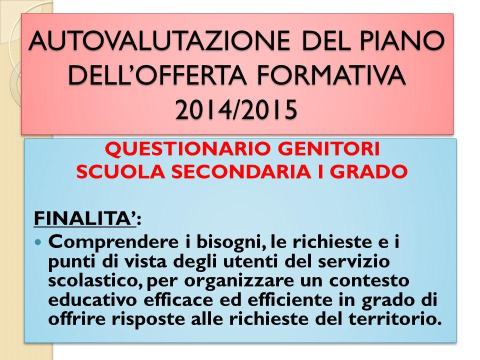 AUTOVALUTAZIONE DEL PIANO DELL'OFFERTA FORMATIVA 2014/2015 QUESTIONARIO GENITORI SCUOLA SECONDARIA I GRADO FINALITA': Comprendere i bisogni, le richie