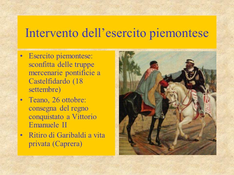 Intervento dell'esercito piemontese Esercito piemontese: sconfitta delle truppe mercenarie pontificie a Castelfidardo (18 settembre) Teano, 26 ottobre