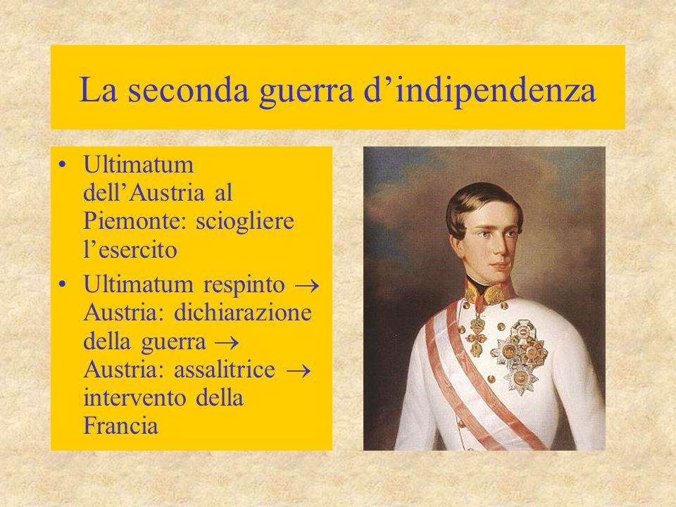 La seconda guerra d'indipendenza Ultimatum dell'Austria al Piemonte: sciogliere l'esercito Ultimatum respinto  Austria: dichiarazione della guerra 