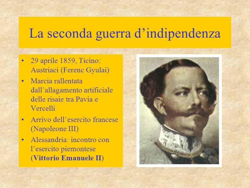 La seconda guerra d'indipendenza Vittorie franco- piemontesi –Montebello (20 maggio) –Palestro (30 maggio) –Magenta (4 giugno) Austriaci  Quadrilatero Alleati  Milano