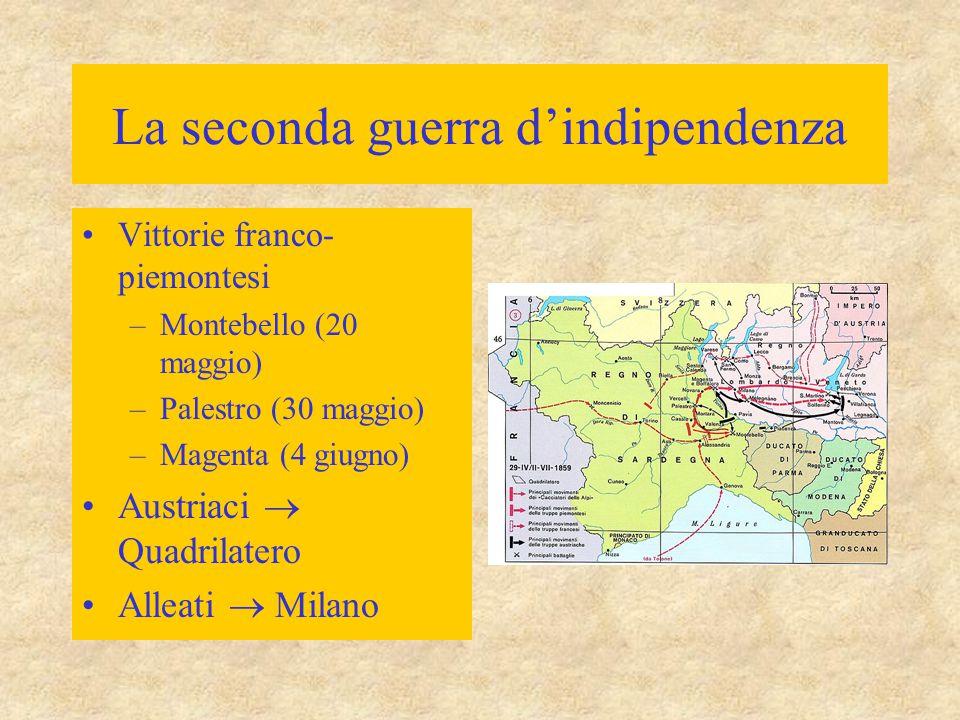 La seconda guerra d'indipendenza Vittorie franco- piemontesi –Montebello (20 maggio) –Palestro (30 maggio) –Magenta (4 giugno) Austriaci  Quadrilater