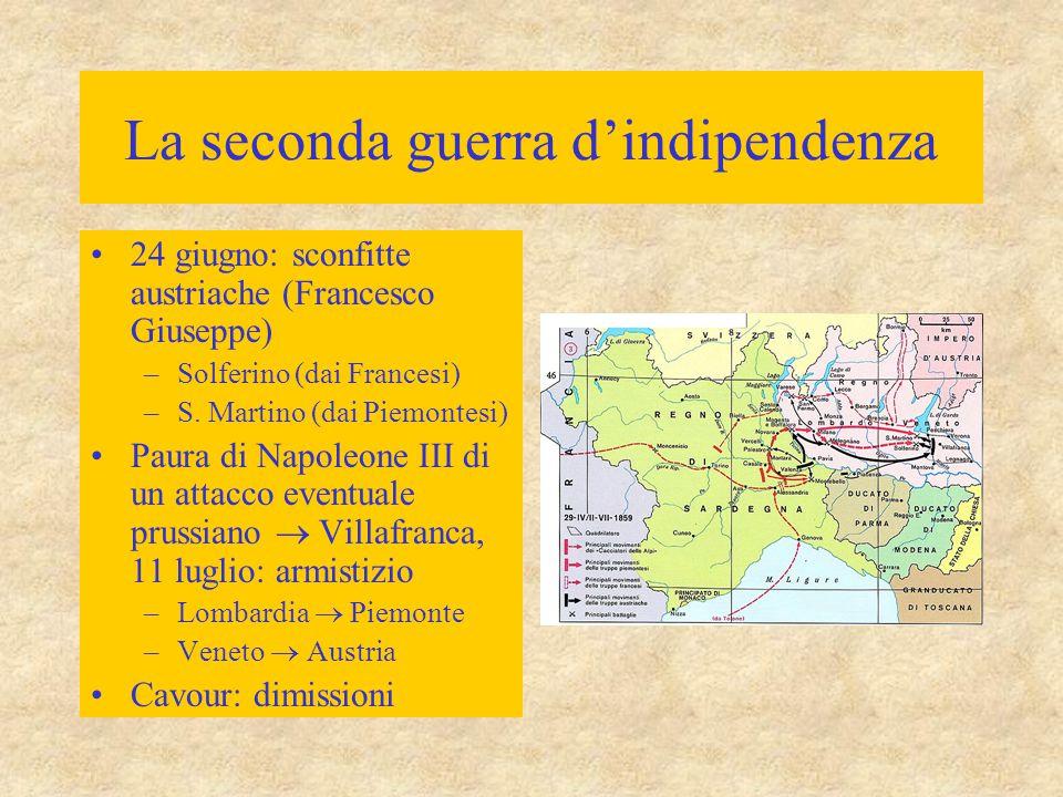 La seconda guerra d'indipendenza Gennaio 1860: ritorno del Cavour alla presidenza del governo Annessioni dell'Emilia, della Romagna e della Toscana : plebiscito (11 e 12 marzo 1860) Savoia e Nizza  Francia