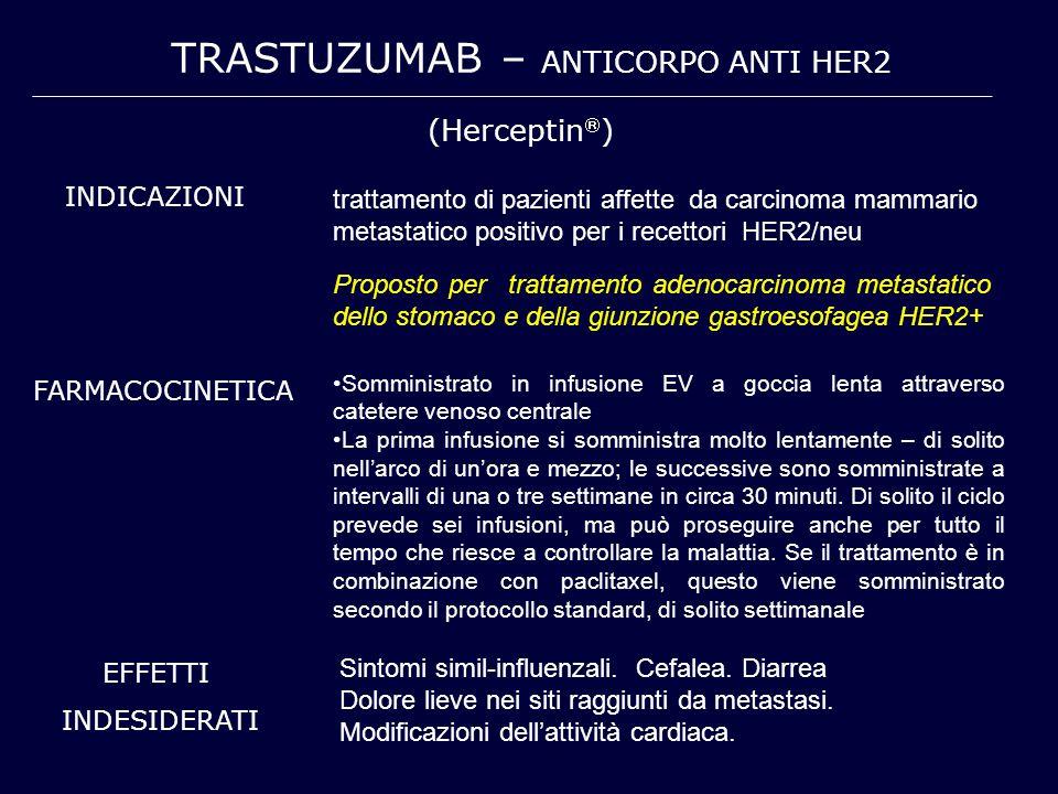 TRASTUZUMAB – ANTICORPO ANTI HER2 (Herceptin  ) INDICAZIONI trattamento di pazienti affette da carcinoma mammario metastatico positivo per i recettor
