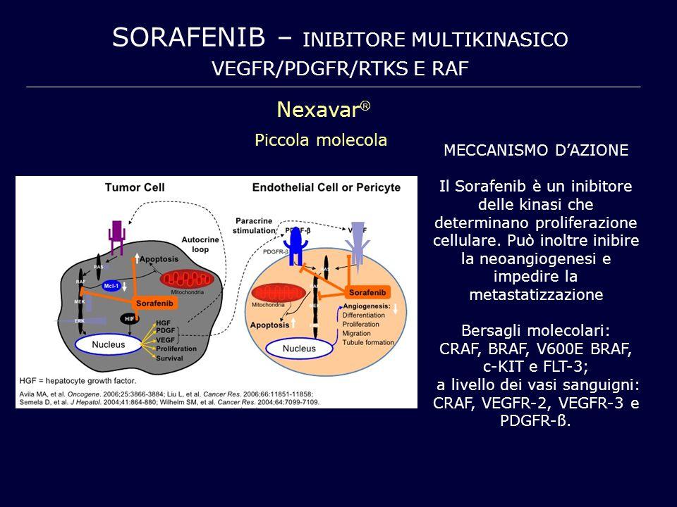 SORAFENIB – INIBITORE MULTIKINASICO VEGFR/PDGFR/RTKS E RAF Nexavar  Piccola molecola MECCANISMO D'AZIONE Il Sorafenib è un inibitore delle kinasi che