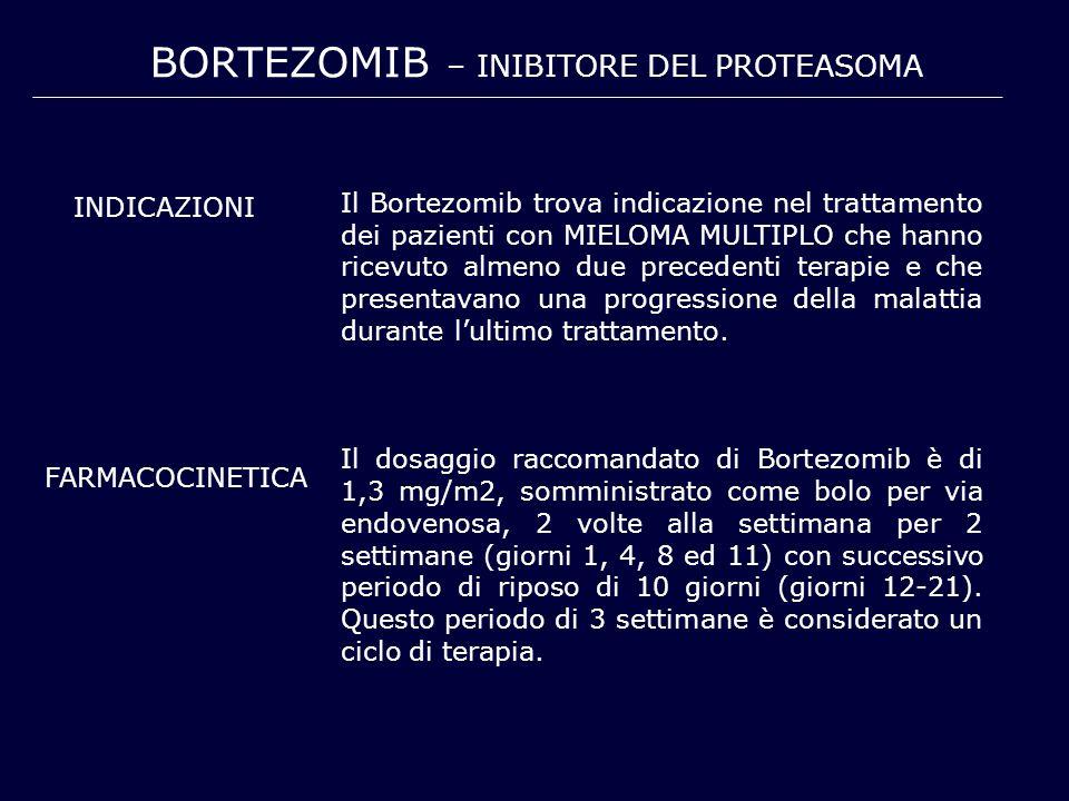 BORTEZOMIB – INIBITORE DEL PROTEASOMA Il Bortezomib trova indicazione nel trattamento dei pazienti con MIELOMA MULTIPLO che hanno ricevuto almeno due