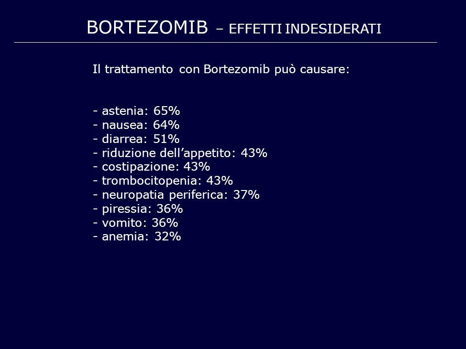 BORTEZOMIB – EFFETTI INDESIDERATI Il trattamento con Bortezomib può causare: - astenia: 65% - nausea: 64% - diarrea: 51% - riduzione dell'appetito: 43