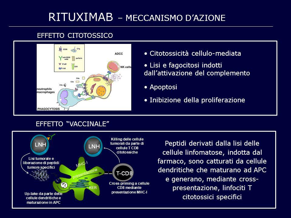 RITUXIMAB – MECCANISMO D'AZIONE Lisi e fagocitosi indotti dall'attivazione del complemento Citotossicità cellulo-mediata Apoptosi Inibizione della pro