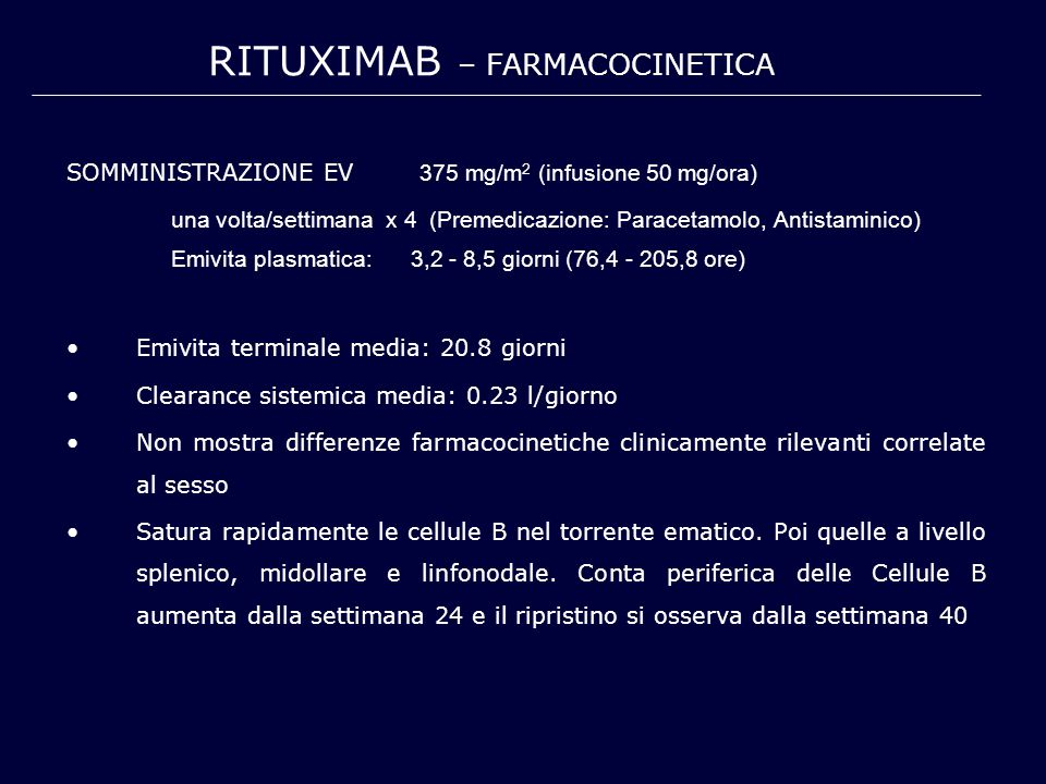 SOMMINISTRAZIONE EV 375 mg/m 2 (infusione 50 mg/ora) una volta/settimana x 4 (Premedicazione: Paracetamolo, Antistaminico) Emivita plasmatica: 3,2 - 8,5 giorni (76,4 - 205,8 ore) Emivita terminale media: 20.8 giorni Clearance sistemica media: 0.23 l/giorno Non mostra differenze farmacocinetiche clinicamente rilevanti correlate al sesso Satura rapidamente le cellule B nel torrente ematico.