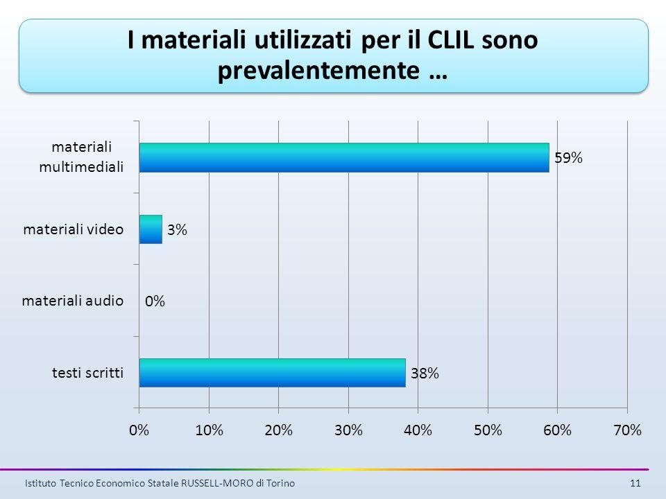 Istituto Tecnico Economico Statale RUSSELL-MORO di Torino11 I materiali utilizzati per il CLIL sono prevalentemente …