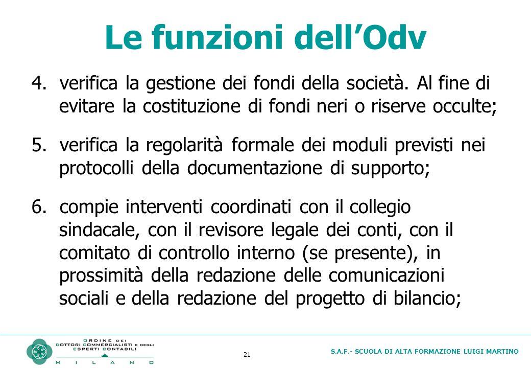 S.A.F.- SCUOLA DI ALTA FORMAZIONE LUIGI MARTINO 21 Le funzioni dell'Odv 4.