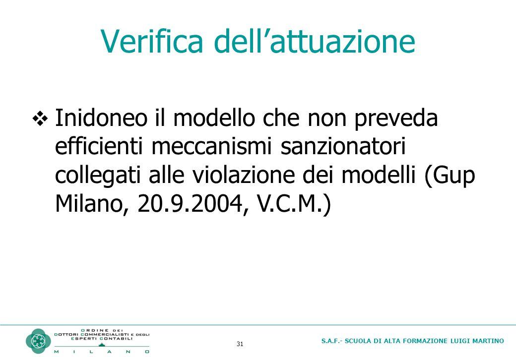 S.A.F.- SCUOLA DI ALTA FORMAZIONE LUIGI MARTINO 31 Verifica dell'attuazione  Inidoneo il modello che non preveda efficienti meccanismi sanzionatori collegati alle violazione dei modelli (Gup Milano, 20.9.2004, V.C.M.)