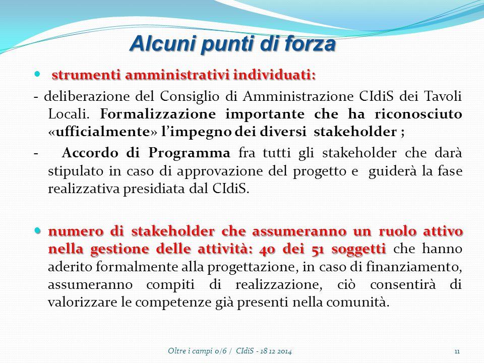 strumenti amministrativi individuati: - deliberazione del Consiglio di Amministrazione CIdiS dei Tavoli Locali. Formalizzazione importante che ha rico