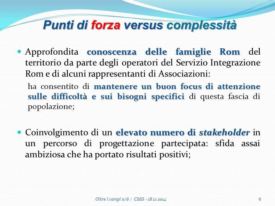 conoscenza delle famiglie Rom Approfondita conoscenza delle famiglie Rom del territorio da parte degli operatori del Servizio Integrazione Rom e di al