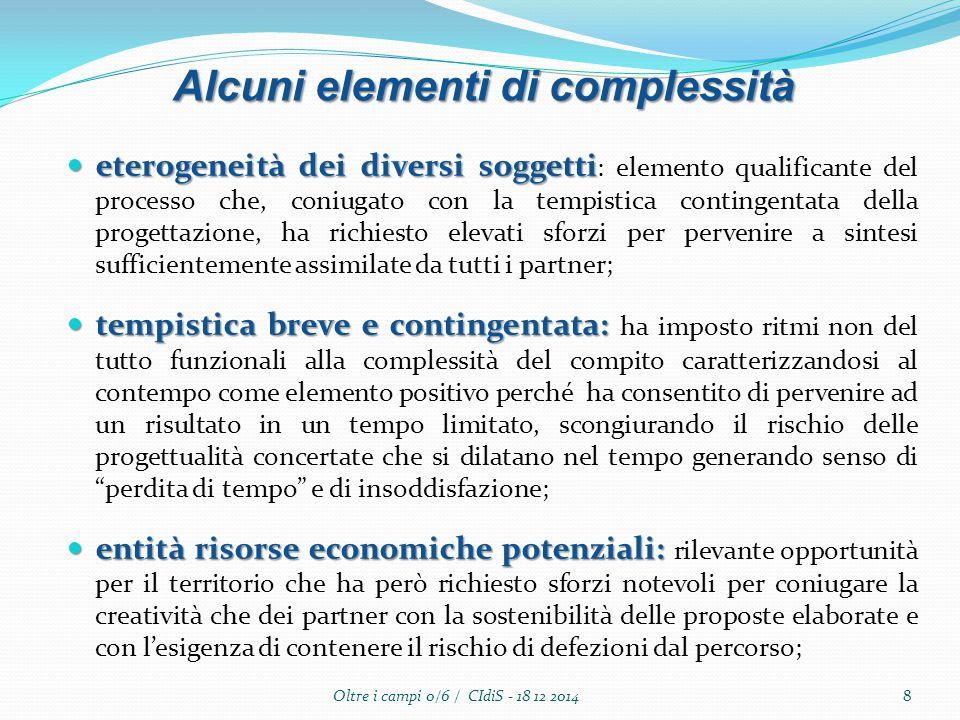 eterogeneità dei diversi soggetti eterogeneità dei diversi soggetti : elemento qualificante del processo che, coniugato con la tempistica contingentat