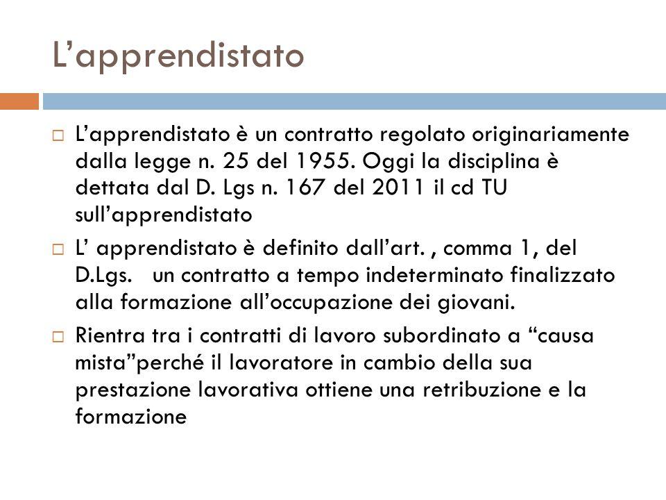 L'apprendistato  L'apprendistato è un contratto regolato originariamente dalla legge n. 25 del 1955. Oggi la disciplina è dettata dal D. Lgs n. 167 d