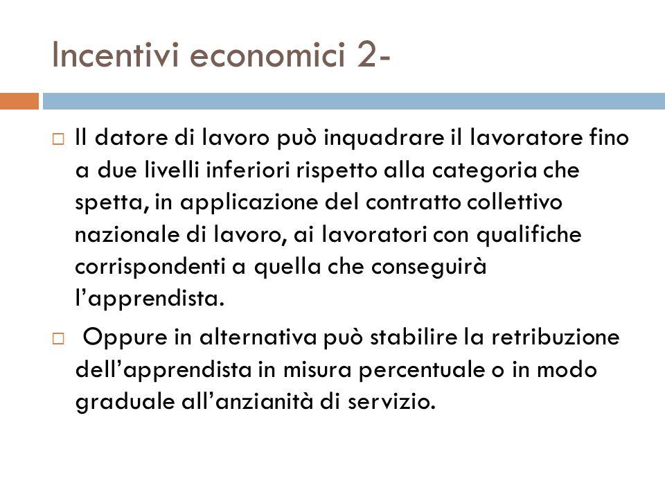 Incentivi economici 2-  Il datore di lavoro può inquadrare il lavoratore fino a due livelli inferiori rispetto alla categoria che spetta, in applicazione del contratto collettivo nazionale di lavoro, ai lavoratori con qualifiche corrispondenti a quella che conseguirà l'apprendista.