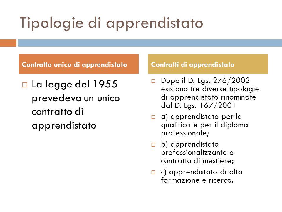 Tipologie di apprendistato  La legge del 1955 prevedeva un unico contratto di apprendistato  Dopo il D. Lgs. 276/2003 esistono tre diverse tipologie