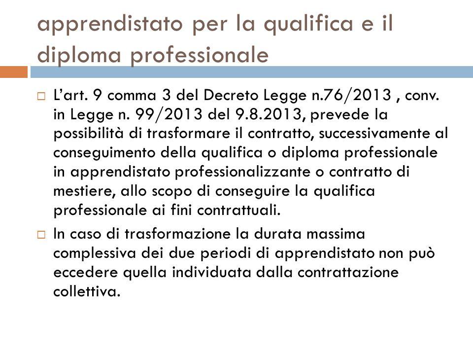 apprendistato per la qualifica e il diploma professionale  L'art. 9 comma 3 del Decreto Legge n.76/2013, conv. in Legge n. 99/2013 del 9.8.2013, prev