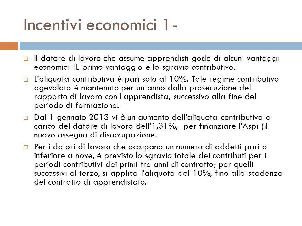 Incentivi economici 1-  Il datore di lavoro che assume apprendisti gode di alcuni vantaggi economici.