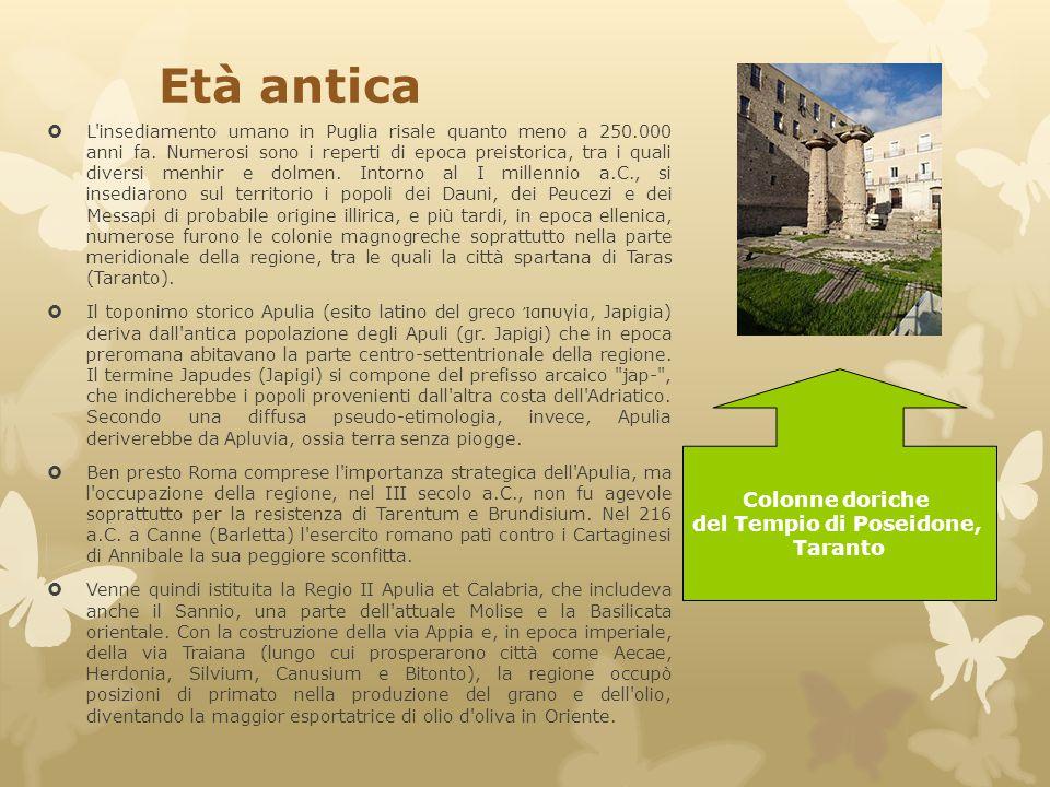 Età antica  L'insediamento umano in Puglia risale quanto meno a 250.000 anni fa. Numerosi sono i reperti di epoca preistorica, tra i quali diversi me