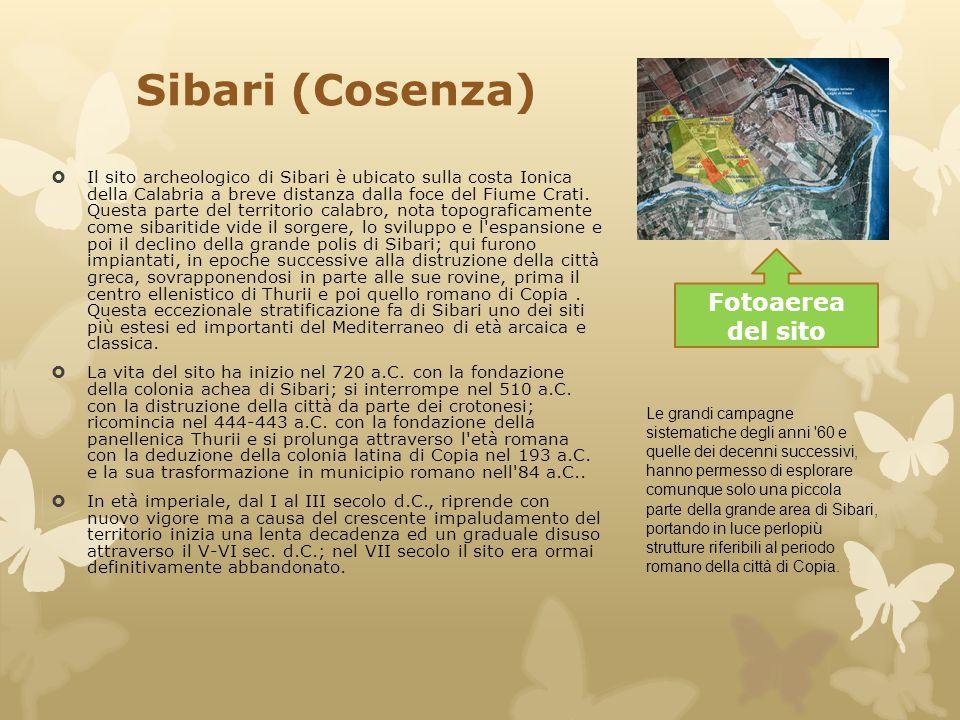 Sibari (Cosenza)  Il sito archeologico di Sibari è ubicato sulla costa Ionica della Calabria a breve distanza dalla foce del Fiume Crati. Questa part