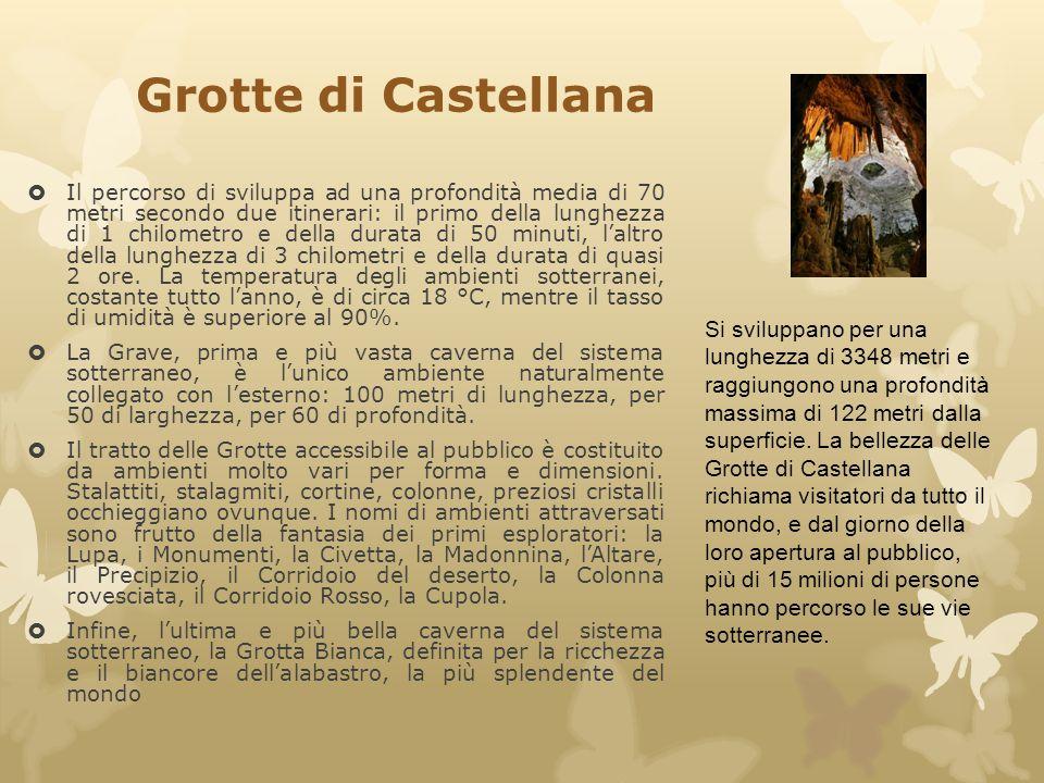 Grotte di Castellana  Il percorso di sviluppa ad una profondità media di 70 metri secondo due itinerari: il primo della lunghezza di 1 chilometro e d
