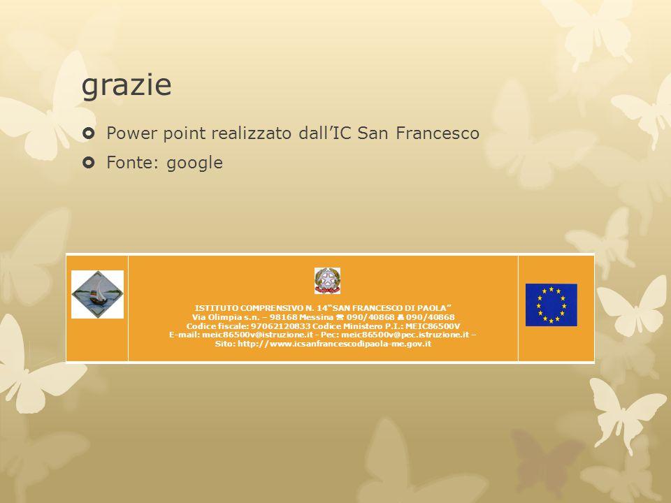 "grazie  Power point realizzato dall'IC San Francesco  Fonte: google ISTITUTO COMPRENSIVO N. 14""SAN FRANCESCO DI PAOLA"" Via Olimpia s.n. – 98168 Mess"