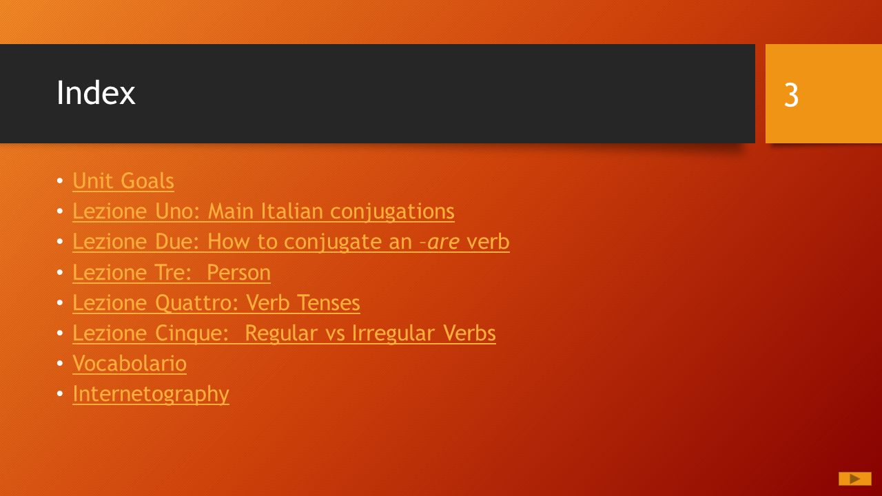 Index Unit Goals Lezione Uno: Main Italian conjugations Lezione Due: How to conjugate an –are verb Lezione Due: How to conjugate an –are verb Lezione Tre: Person Lezione Quattro: Verb Tenses Lezione Cinque: Regular vs Irregular Verbs Vocabolario Internetography 3