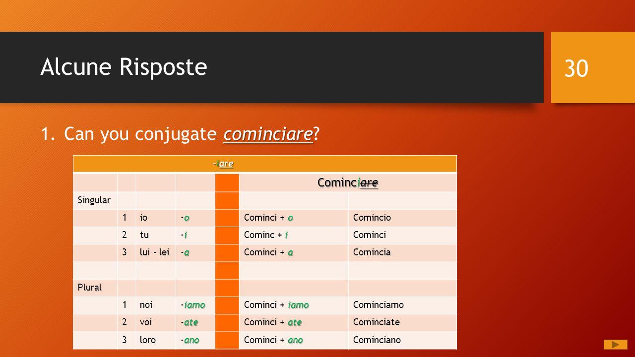 Alcune Risposte cominciare 1.Can you conjugate cominciare? 30 -iare -iare Cominciare Singular 1io o-oo-o o Cominci + oComincio 2tu i-ii-i i Cominc + i