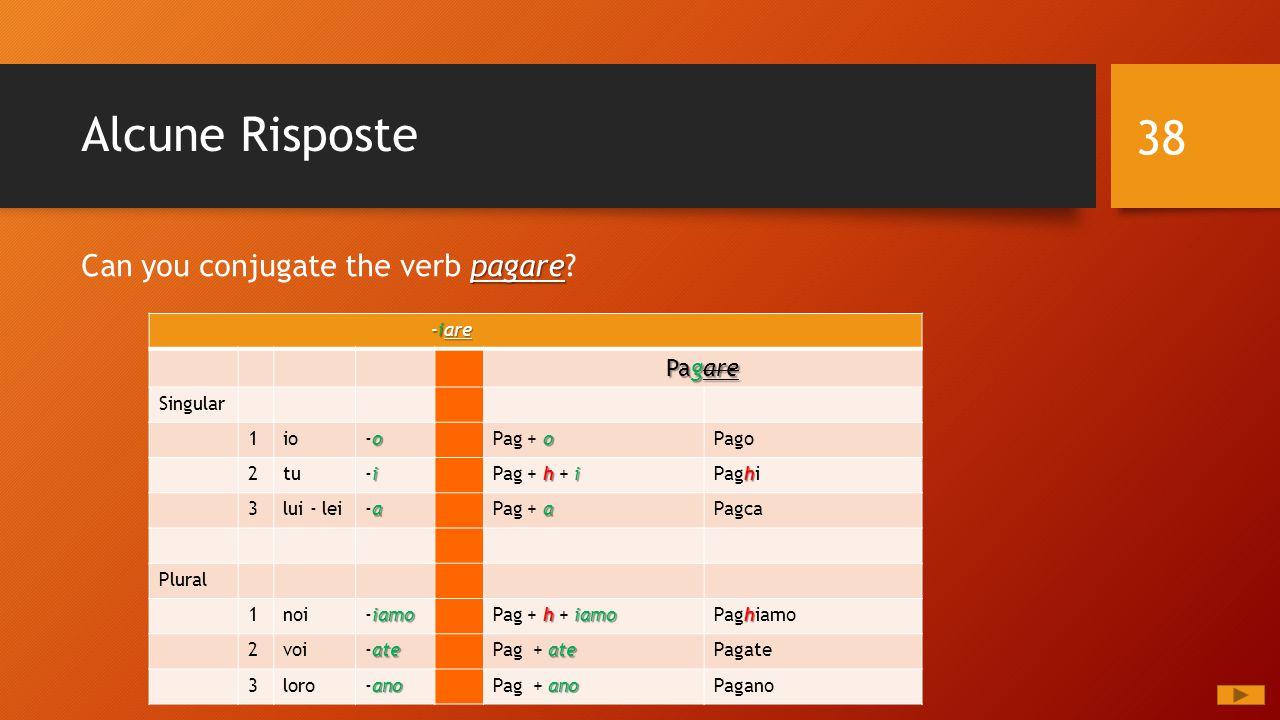Alcune Risposte 38 pagare Can you conjugate the verb pagare? -iare -iare Pagare Singular 1io o-oo-o o Pag + oPago 2tu i-ii-i hi Pag + h + i h Paghi 3l