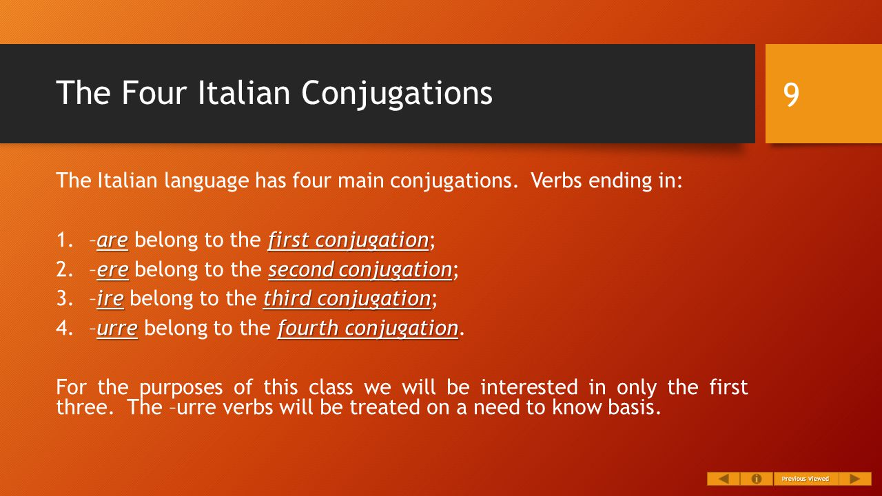 The Four Italian Conjugations The Italian language has four main conjugations.