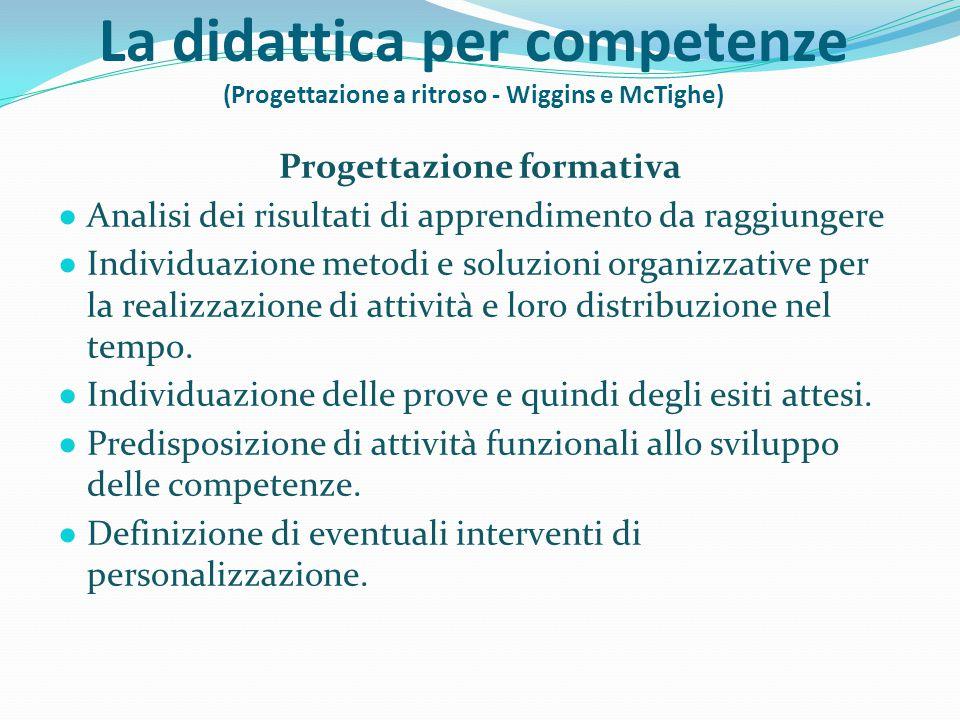 La didattica per competenze (Progettazione a ritroso - Wiggins e McTighe) Progettazione formativa ● Analisi dei risultati di apprendimento da raggiung