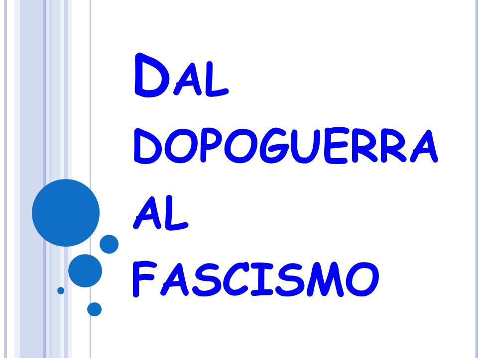 Italia: sul carro dei vincitori Difficoltà economiche Da economia di guerra a economia di pace con conversione di aziende Chiusura fabbriche Inflazione Mancate promesse (riforma agraria) Rancori di guerra Tendenze autoritarie e antidemocratiche