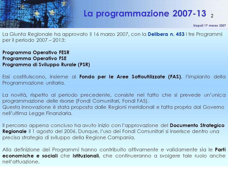 Napoli 17 marzo 2007 2 La Giunta Regionale ha approvato il 16 marzo 2007, con la Delibera n.