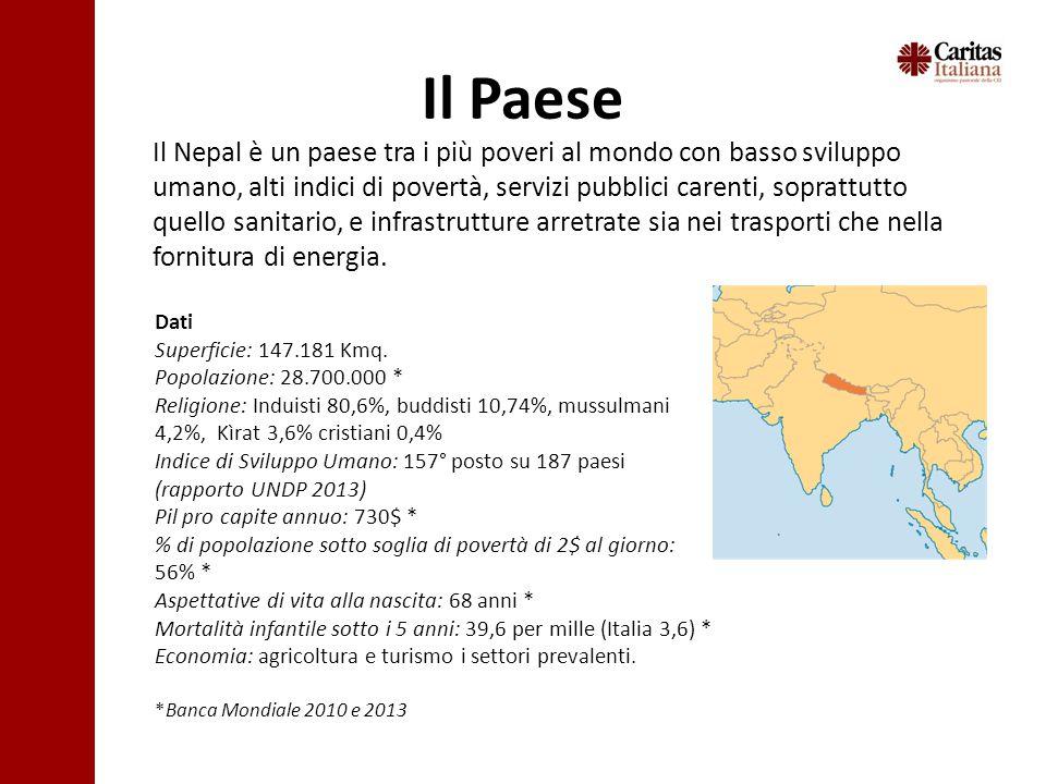 Il Paese Il Nepal è un paese tra i più poveri al mondo con basso sviluppo umano, alti indici di povertà, servizi pubblici carenti, soprattutto quello sanitario, e infrastrutture arretrate sia nei trasporti che nella fornitura di energia.