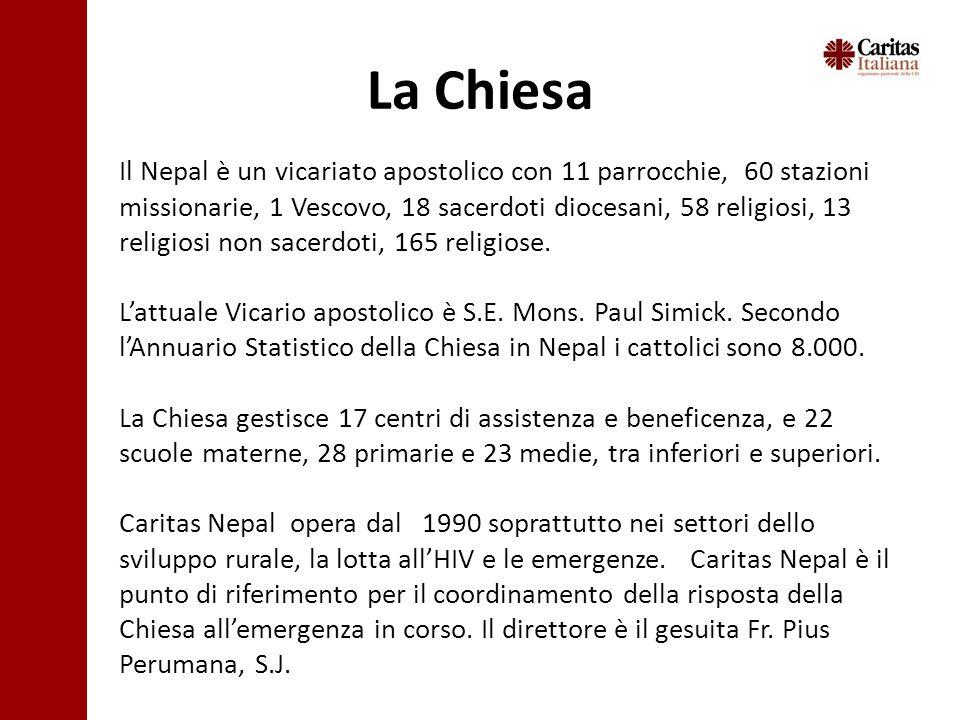 La Chiesa Il Nepal è un vicariato apostolico con 11 parrocchie, 60 stazioni missionarie, 1 Vescovo, 18 sacerdoti diocesani, 58 religiosi, 13 religiosi non sacerdoti, 165 religiose.
