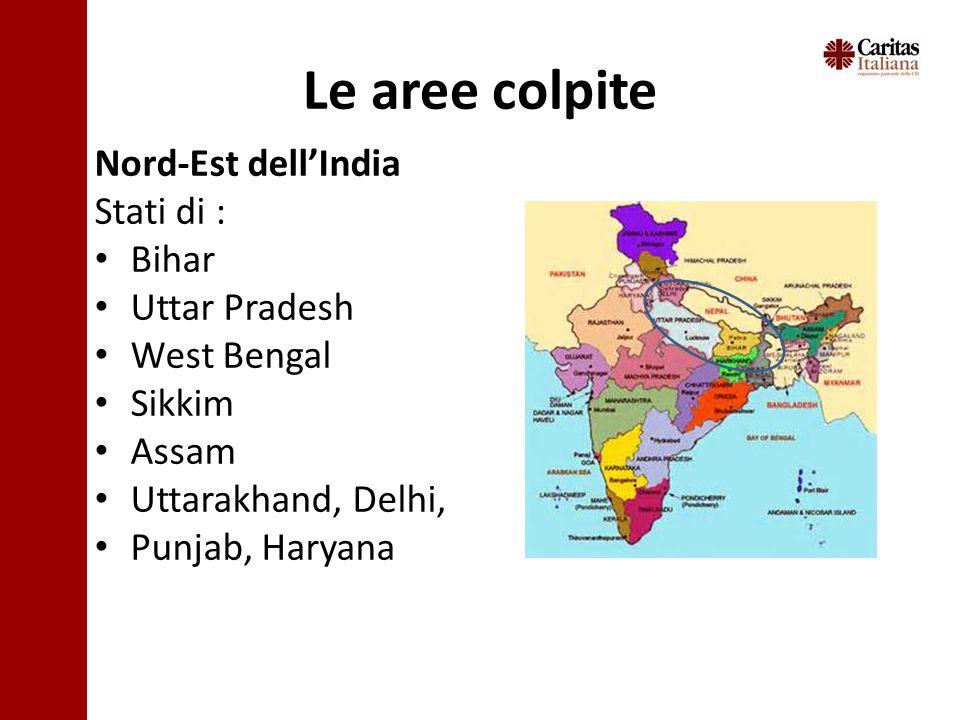 Le aree colpite Nord-Est dell'India Stati di : Bihar Uttar Pradesh West Bengal Sikkim Assam Uttarakhand, Delhi, Punjab, Haryana