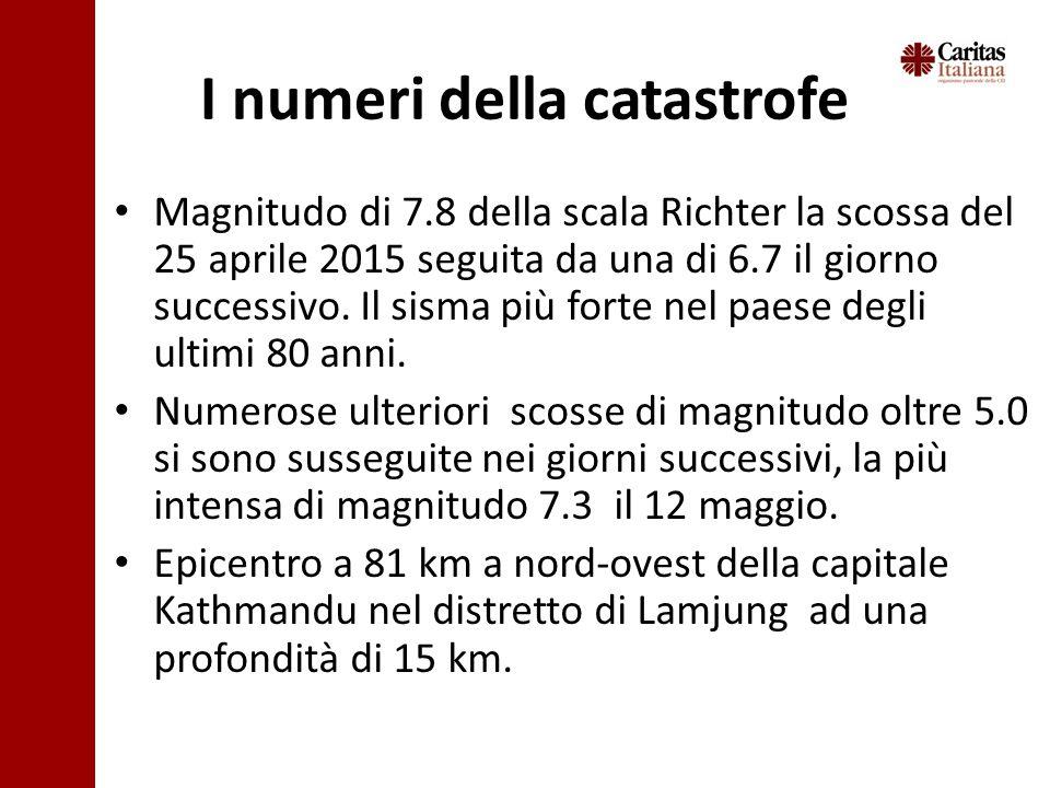 I numeri della catastrofe Magnitudo di 7.8 della scala Richter la scossa del 25 aprile 2015 seguita da una di 6.7 il giorno successivo.