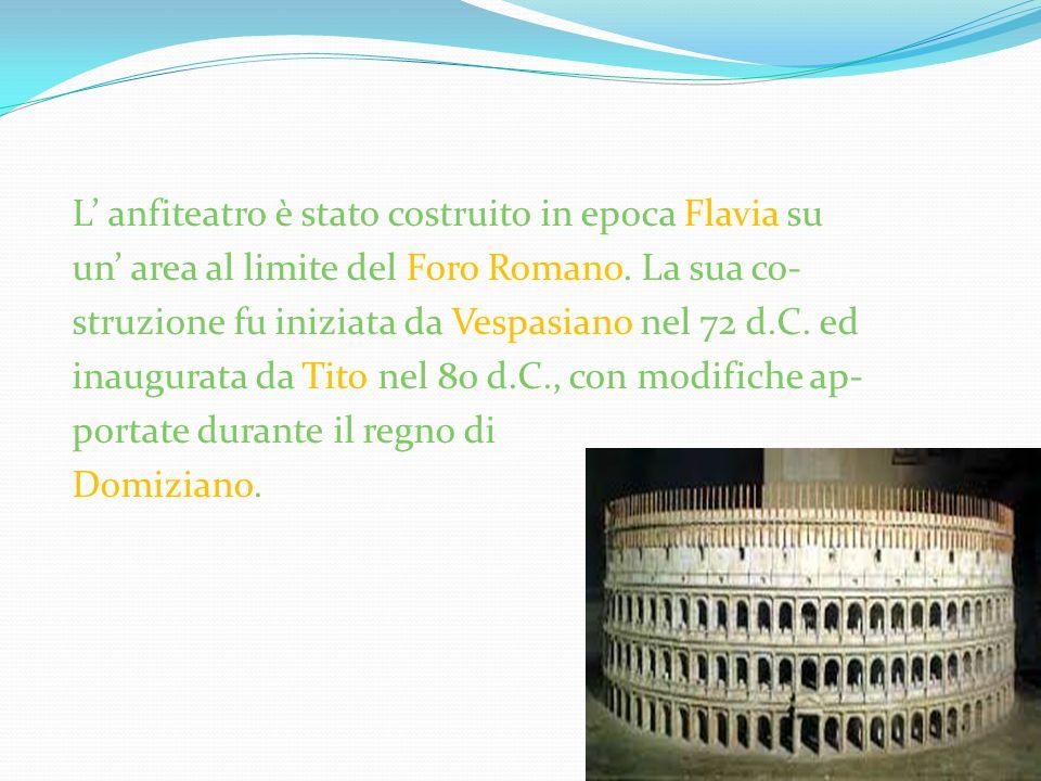 L' anfiteatro è stato costruito in epoca Flavia su un' area al limite del Foro Romano. La sua co- struzione fu iniziata da Vespasiano nel 72 d.C. ed i