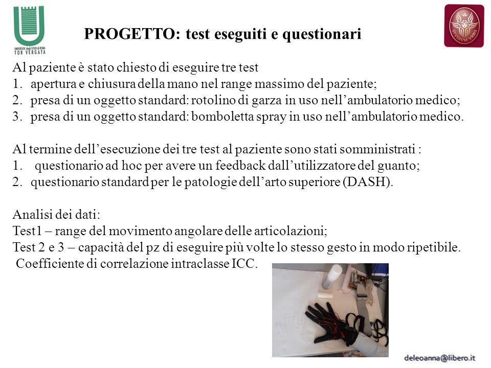 PROGETTO: test eseguiti e questionari Al paziente è stato chiesto di eseguire tre test 1.apertura e chiusura della mano nel range massimo del paziente