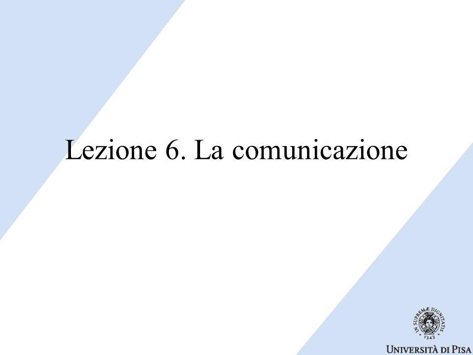 Lezione 6. La comunicazione
