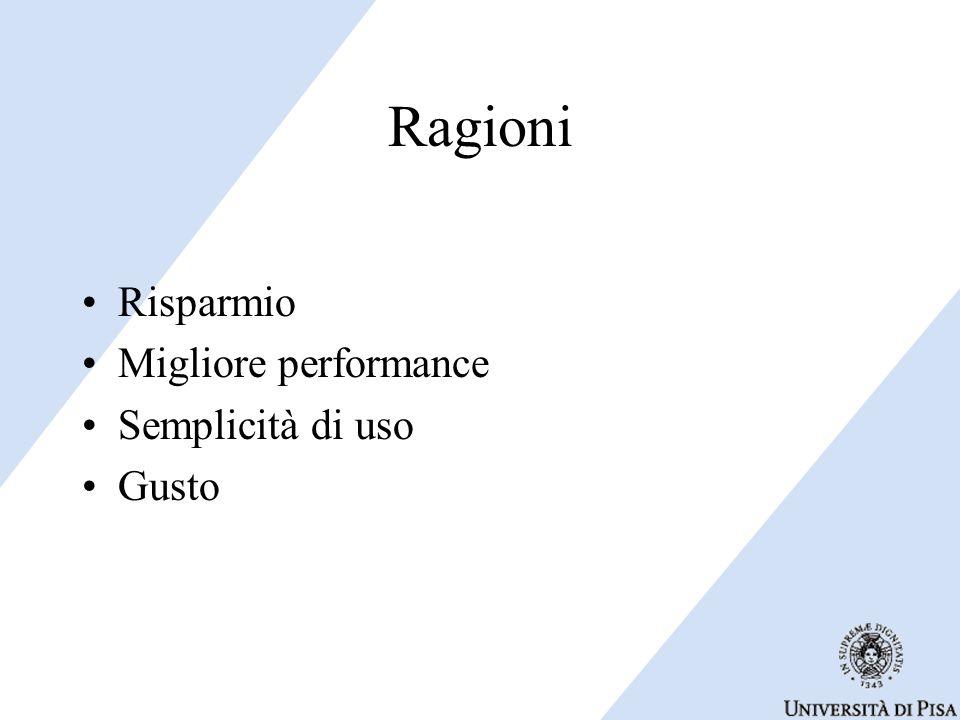 Ragioni Risparmio Migliore performance Semplicità di uso Gusto