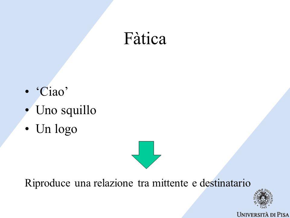 Fàtica 'Ciao' Uno squillo Un logo Riproduce una relazione tra mittente e destinatario