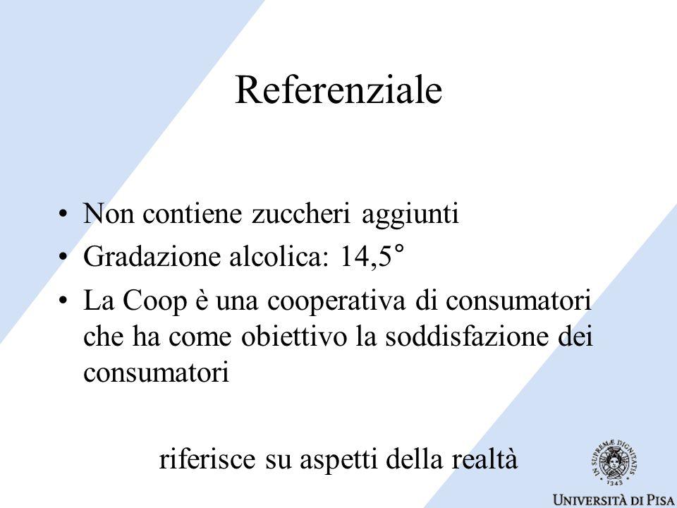 Referenziale Non contiene zuccheri aggiunti Gradazione alcolica: 14,5° La Coop è una cooperativa di consumatori che ha come obiettivo la soddisfazione dei consumatori riferisce su aspetti della realtà