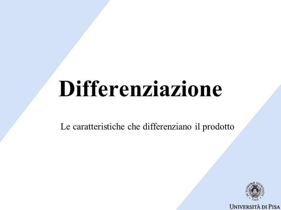 Differenziazione Le caratteristiche che differenziano il prodotto