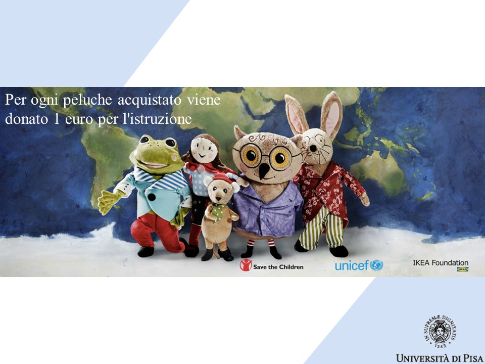 Per ogni peluche acquistato viene donato 1 euro per l istruzione