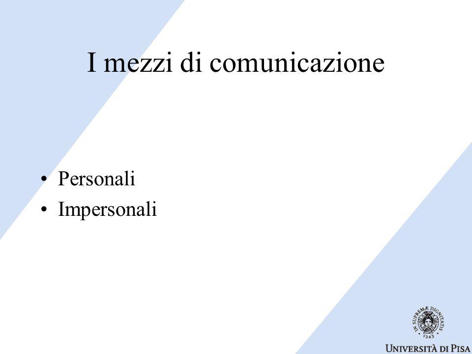 I mezzi di comunicazione Personali Impersonali
