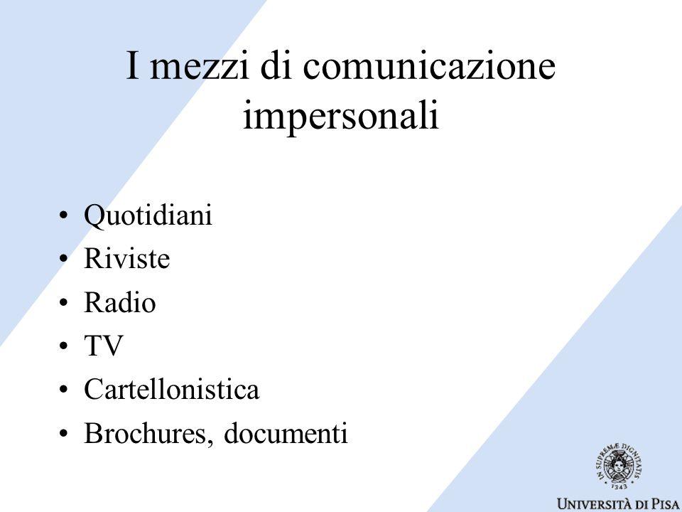 I mezzi di comunicazione impersonali Quotidiani Riviste Radio TV Cartellonistica Brochures, documenti